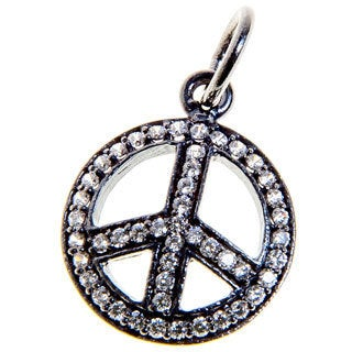 Sitara Collections Rhodium-plated Sterling Silver Peace Sign Cubic Zirconia Charm Necklace (India)