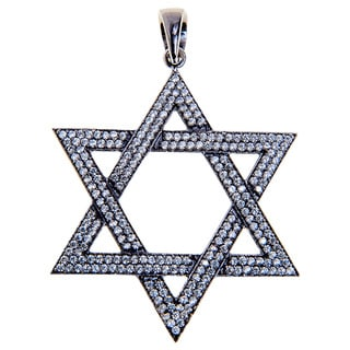 Rhodium-plated Sterling Silver Star of David Cubic Zirconia Charm Necklace (India)