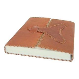 Handmade Camel Leather Journal with Center Opening (India)