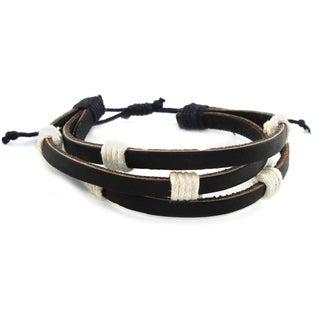Black Triple Leather Adjustable Rock 'n Roll Bracelet (Indonesia)