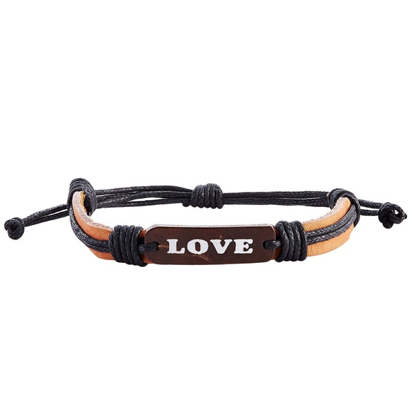 Adjustable Genuine Leather Bracelet with Ultimate Love Plate (Indonesia)