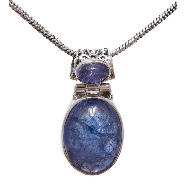 Sterling Silver Double Tanzanite Pendant 18-inch Drop Necklace (India)
