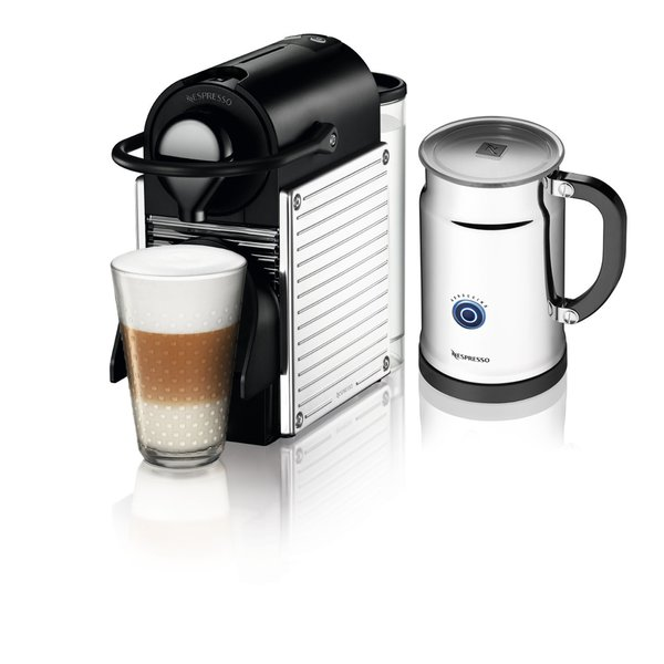 Nespresso A+C60-US-SS-NE Pixie Espresso Maker with Aeroccino Plus Milk Frother Chrome
