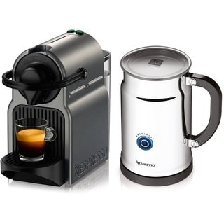 Nespresso A+C40-US-TI-NE Inissia Espresso Maker with Aeroccino Plus Milk Frother Titan