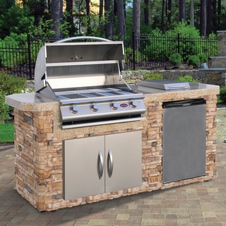 Cal Flame Natural Stone Stainless Steel 7 Foot 4 Burner Grill Island