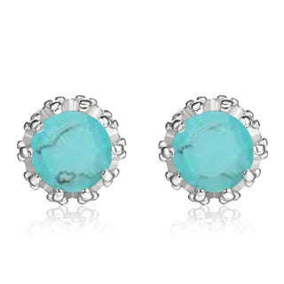 18k White Gold 2ct TGW Turquoise Stud Earrings