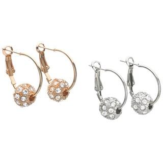 14k Gold Crystal Ball Hoop Earrings