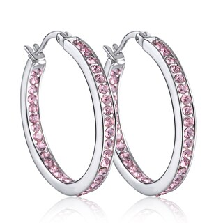 18k White Gold Overlay Austrian Crystal Elements Inside Out Hoop Earrings
