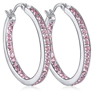18k White Gold over Brass Inside Out Hoop Earrings