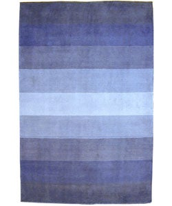 Hand-tufted Blue Stripes Wool Rug (8' x 10')
