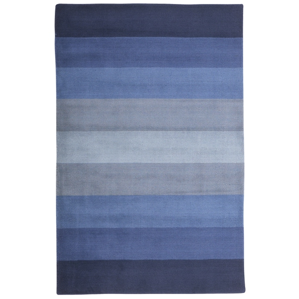 Hand Tufted Blue Stripes Wool Rug 8 X 10 1016295