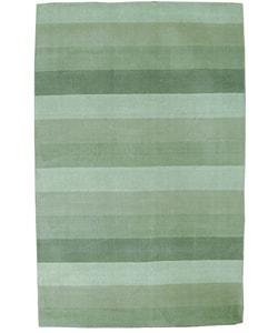 Hand-tufted Green Stripes Wool Rug (8' x 10')