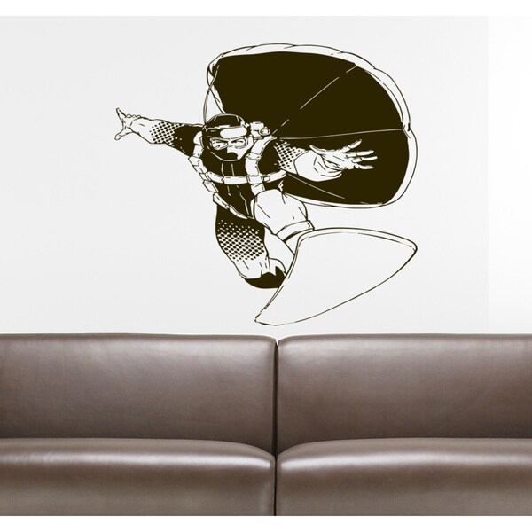 Sport parachutist jumper skydiver chutist Wall Art Sticker Decal Brown
