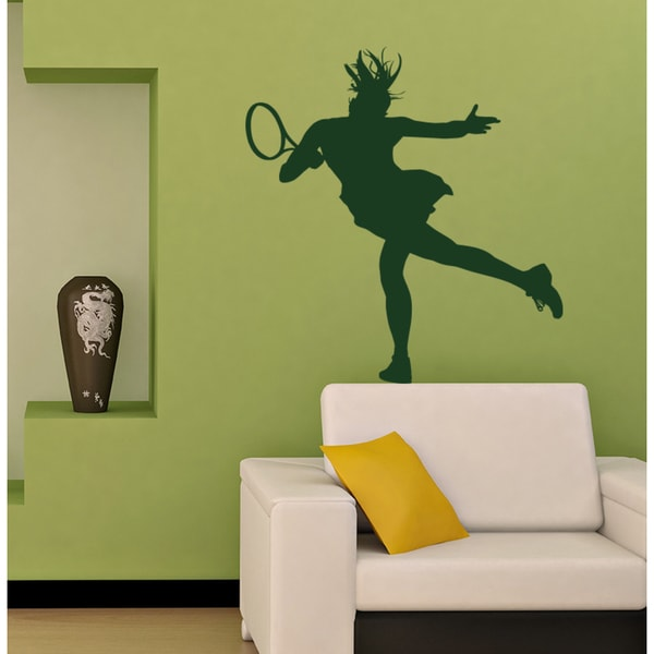 Tennis Girl Wall Art Sticker Decal Green
