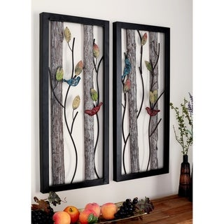 Set of 2 Modern Nature-Inspired Framed Wall Plaques by Studio 350 - Black