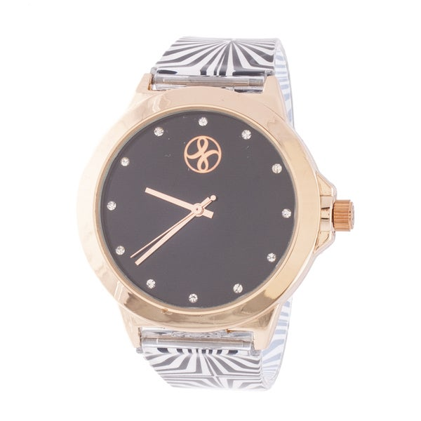 Fortune NYC Ladies Rosetone Case with Black Dial / Black & White Rubber Strap Watch