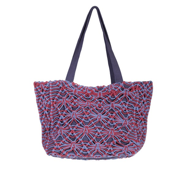 Scully Two-Tone Macrame Tote Bag
