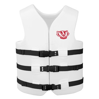 Texas Rec USCG Approved Adult Water Vest White Finish Wisconsin Badgers