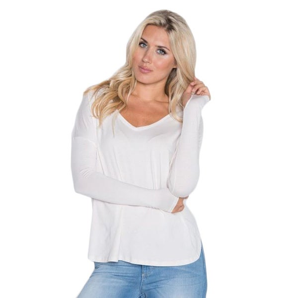 Beam Women's White Long-sleeve T-shirt
