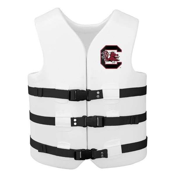 Texas Rec USCG Approved Adult Water Vest White Finish South Carolina Gamecocks