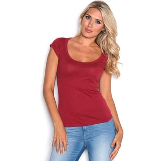 Beam Women's Red Scoop Neck T-shirt