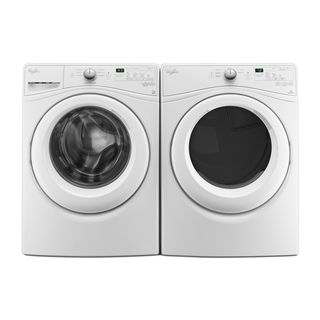 Whirlpool laundry pair with 4.5 cu ft washer and 7.4 cu ft gas dryer