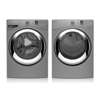 Whirlpool Duet laundry pair with 4.2 cu ft washer and 7.4 cu ft gas dryer