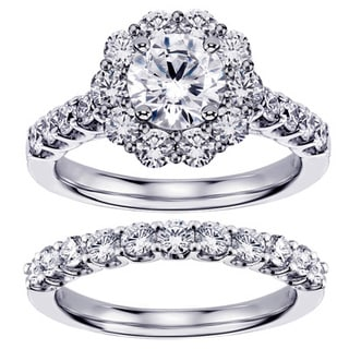 Platinum 2 2/5ct TDW Brilliant Cut Diamond Halo Engagement Bridal Set (G-H, SI1-SI2)