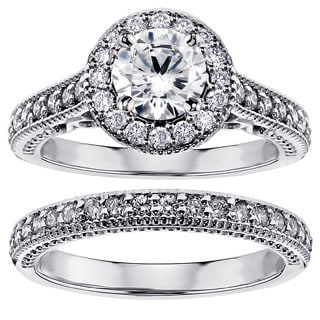 Platinum 1 3/4ct TDW White Diamond Halo Engagement Bridal Ring Set (G-H, SI1-SI2)