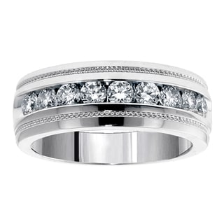 Platinum 1ct TDW Brilliant Cut Diamond Men's Ring