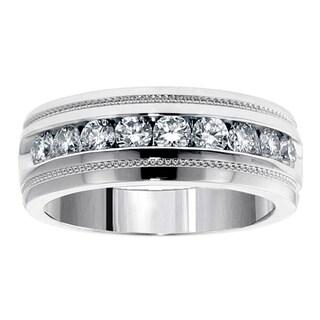 Platinum 1ct TDW Brilliant Cut Diamond Men's Ring