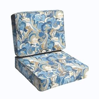 Blue Grey Abstract 2-piece Indoor/Outdoor Cushion Set
