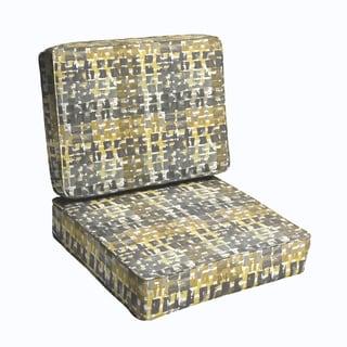 Grey Gold Squares 2-piece Indoor/Outdoor Cushion Set