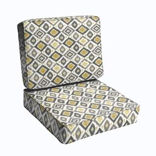 Grey/ Gold Diamonds 2-piece Indoor/Outdoor Cushion Set