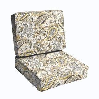 Grey Gold Paisley 2-piece Indoor/Outdoor Cushion Set
