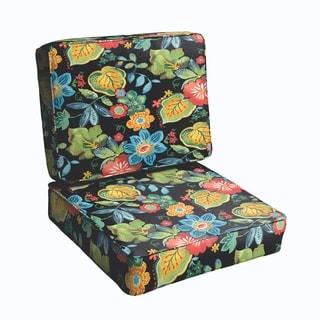 Black Tropical 2-piece Indoor/Outdoor Cushion Set