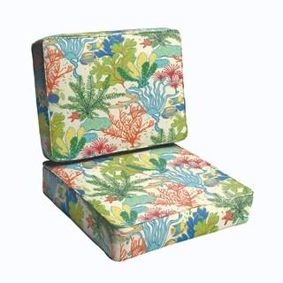 Blue Green Seascape 2-piece Indoor/Outdoor Cushion Set