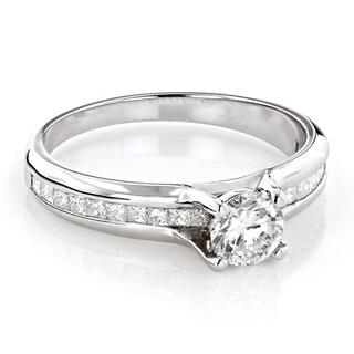 Luxurman 14k Gold 1 1/10ct TDW Round- and Princess-cut Diamond Engagement Ring (G-H, VS-VS1)
