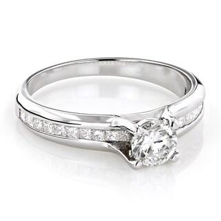 Luxurman 14k Gold 1 1/6ct TDW Princess-cut and Round Diamond Engagement Ring (H-I, SI1-SI2)