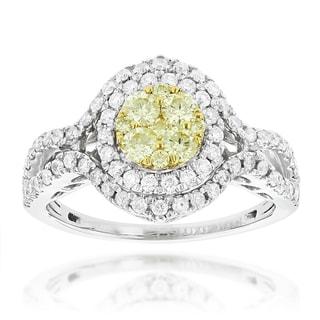 Luxurman 14k Gold 1 1/6ct TDW White Yellow Diamond Engagement Ring (VS1-VS2)