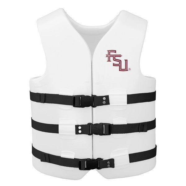 Texas Rec USCG Approved Adult Water Vest White Finish Florida State Seminoles