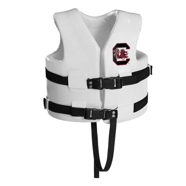 Texas Rec USCG Approved Child Water Vest White Finish South Carolina Gamecocks