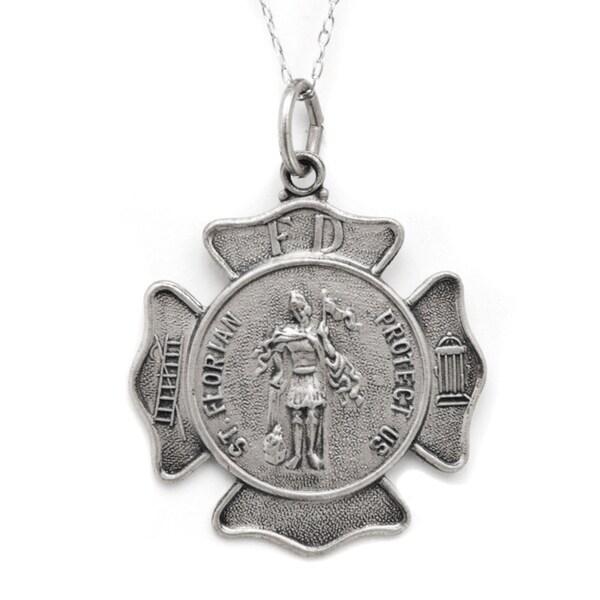 Pori Sterling Silver St Florian Medallion Neckalce