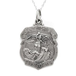 Pori Sterling Silver St Michael Badge Medallion Necklace