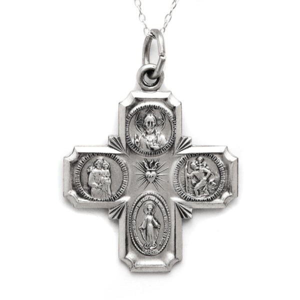 Pori Sterling Silver Multiple Religious Figures Cross Medallion Necklace