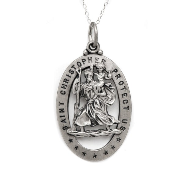 Pori Sterling Silver 3D Oval St Christopher Medallion Necklace