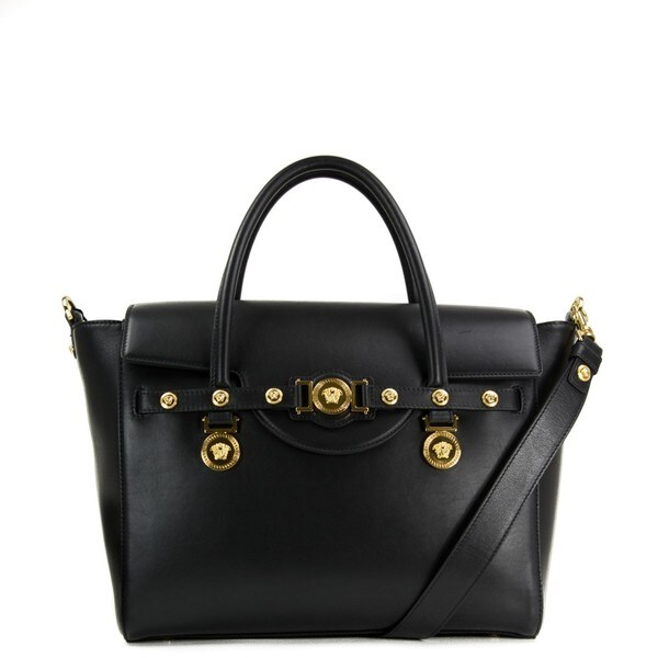 Versace Signature Lock Nero Leather Handbag