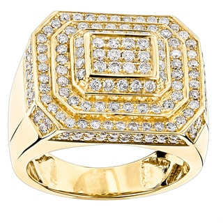 Luxurman 14k Gold 2 5/8ct TDW Designer Men's Diamond Ring (H-I, SI1-SI2)