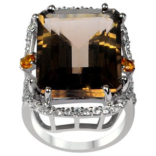 Orchid Jewelry One of A Kind 925 Sterling Silver Ring 22.46ct TGW Genuine Smoky Quartz Citrine & White Topaz