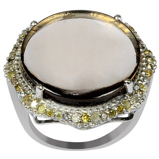 Orchid Jewelry One of A Kind 925 Sterling Silver Ring 13.93ct TGW Genuine Diamond & Smoky Quartz